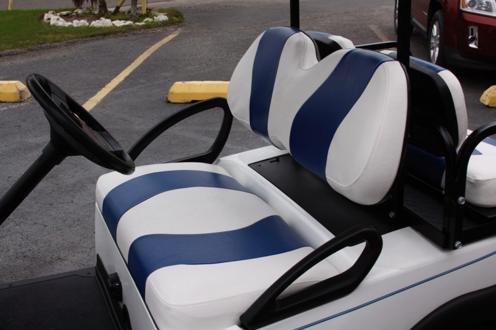 white blue stripe cart